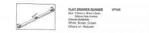 Injection Moulded Flat Drawer Runner Size 310mm x 16mm x 6mm 256mm Hole Centres Various Colours Available
